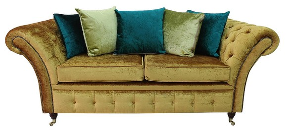 Chesterfield Balmoral 2.5 Seater Sofa Settee Boutique Gold Crush Velvet Fabric + Cushions