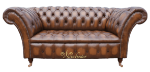 Chesterfield Balmoral 2 Seater Sofa Settee Antique Tan Leather