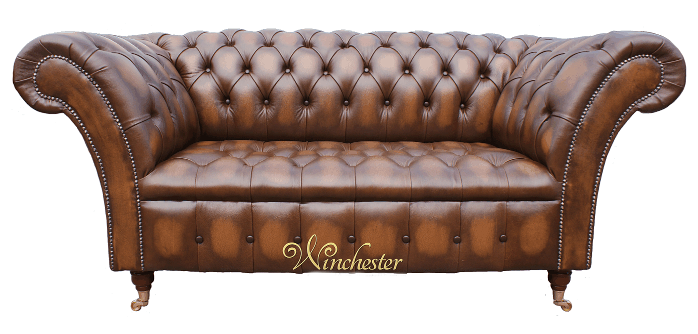 Chesterfield Balmoral 2 Seater Sofa Settee Antique Tan Leather, Traditional  Sofas