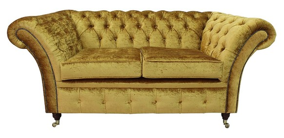Chesterfield Balmoral 2 Seater Sofa Settee Boutique Gold Crush Velvet Fabric