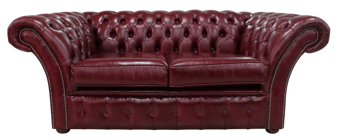 Chesterfield Balm 2 Seater Sofa Settee Old English Burgandy Leather