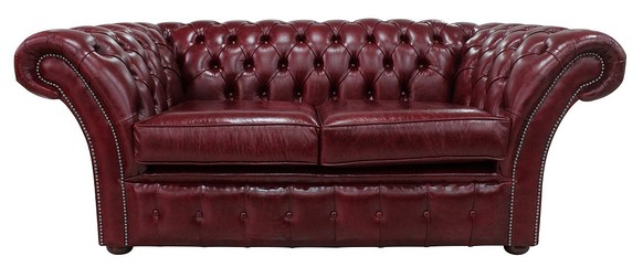 Chesterfield Balmoral 2 Seater Sofa Settee Old English Burgandy Leather