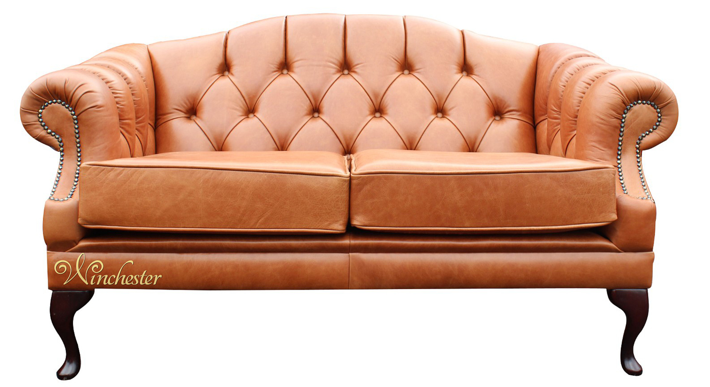 Chesterfield Victoria 2 Seater Leather Sofa Settee Old