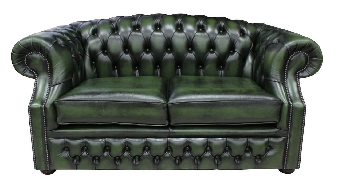 Chesterfield Buckingham 2 Seater Antique Green Leather Sofa ...