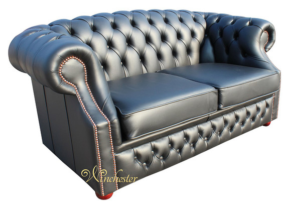 Chesterfield Buckingham 2 Seater Black Leather Sofa Offer