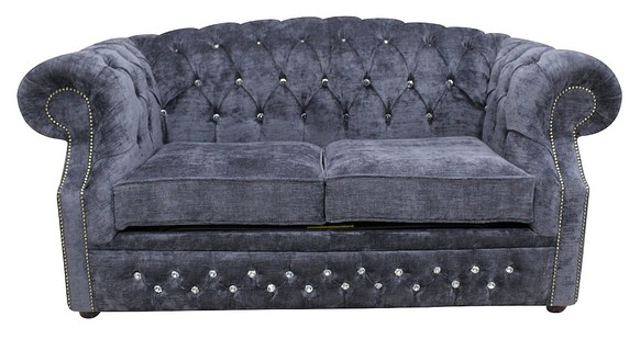 Chesterfield Buckingham Crystal 2 Seater Velluto Grey Fabric Sofa Offer