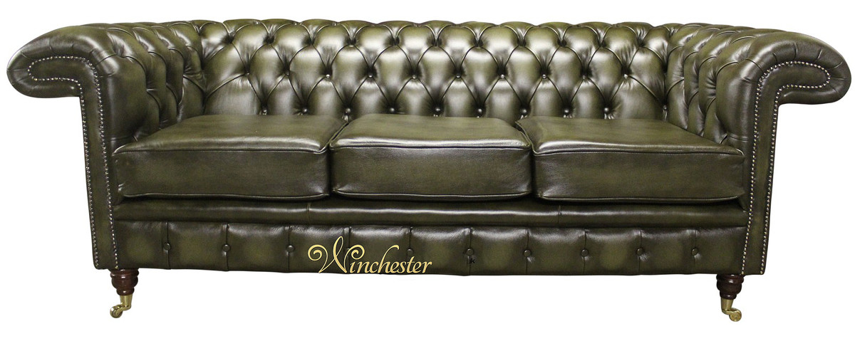 Chesterfield Chelsea 3 Seater Antique Green Leather Sofa Offer