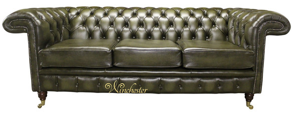 Chesterfield Sandringham 3 Seater Antique Green Leather Sofa Offer