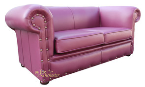 Chesterfield Decor 2 Seater Settee Vele Aubergine Leather Sofa
