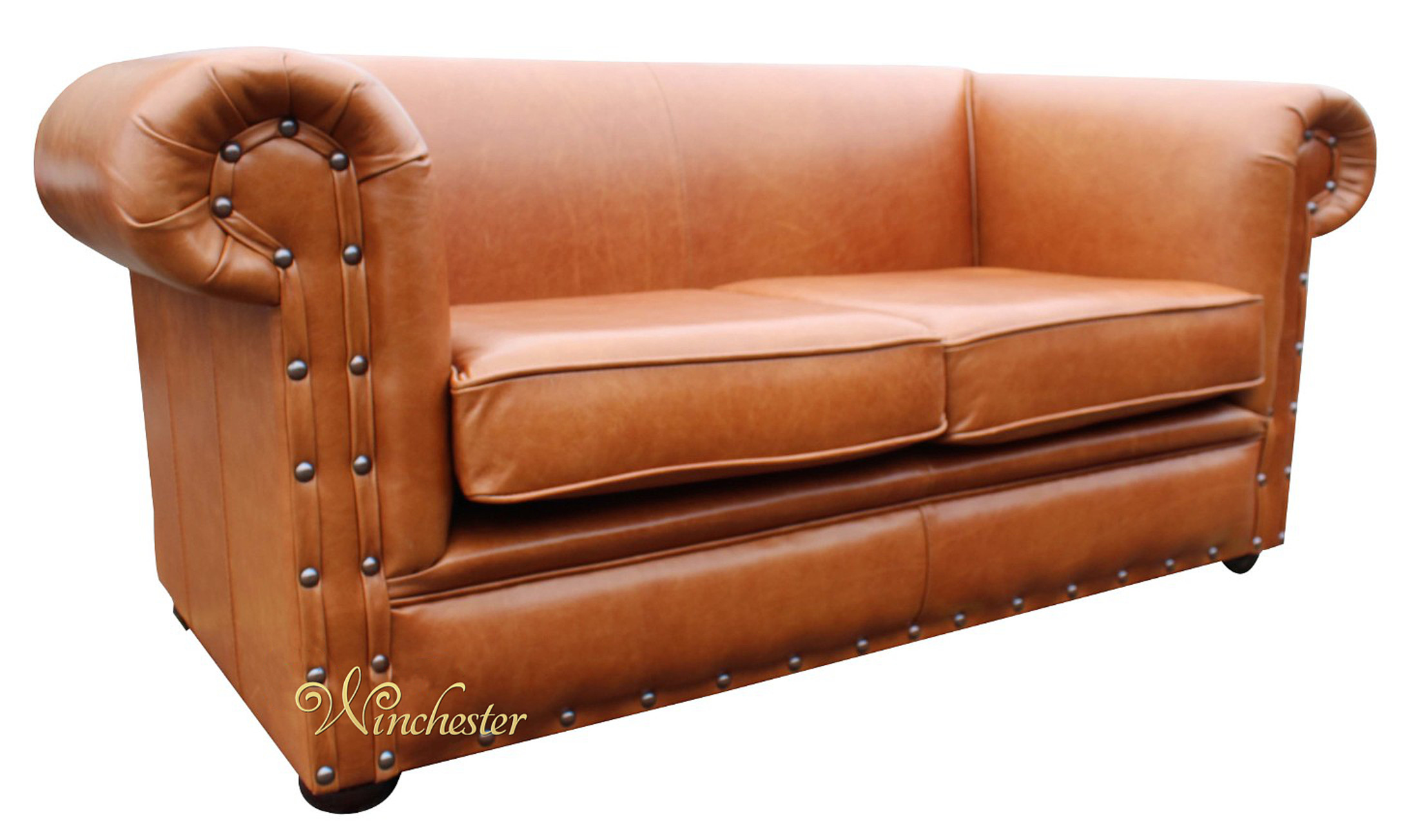 Chesterfield Decor 2 Seater Sofa Settee Old English Saddle Leather Wc