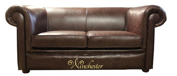 Chesterfield Hampton 2 Seater Settee Old English Dark Brown Leather Sofa