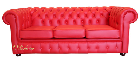 Chesterfield Thomas 3 Seater Settee Poppy Red Leather Sofa Offer