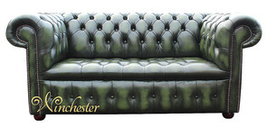 Chesterfield Kensington 2 Seater Settee Sofa Buttoned Seat Antique Green Leather
