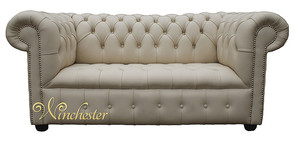 Chesterfield Kensington 2 Seater Settee Sofa Buttoned Seat Ivory Cottonseed Leather