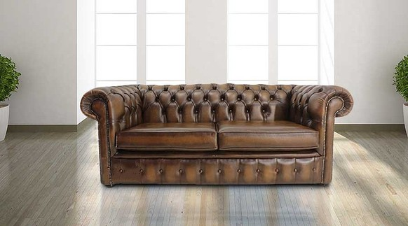 Chesterfield London 2.5 Seater Antique Tan Sofa Settee Offer
