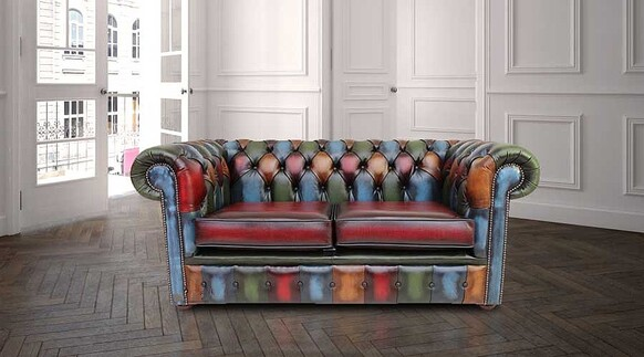 Chesterfield Patchwork Antique 2 Seater Settee Leather Sofa Offer