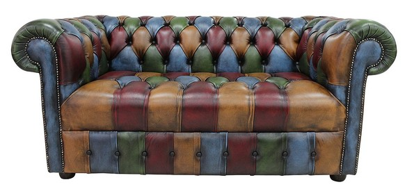 Chesterfield Patchwork Buttoned Seat Antique 2 Seater Settee Leather Sofa Offer