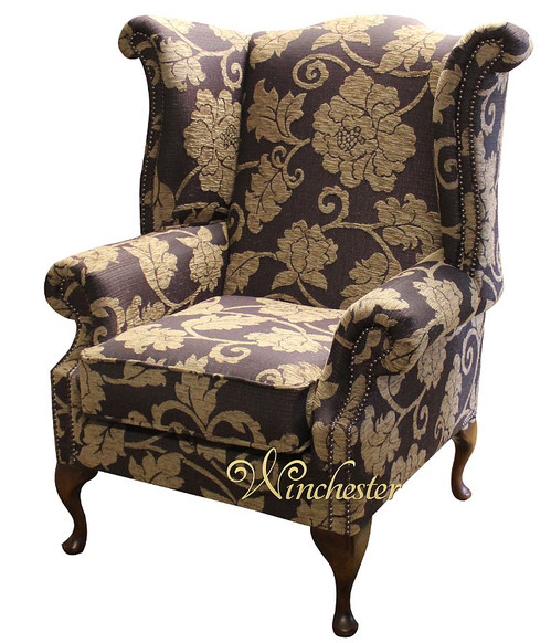 Chesterfield Saxon Fabric Queen Anne High Back Wing Chair Tiffiny Aubergine