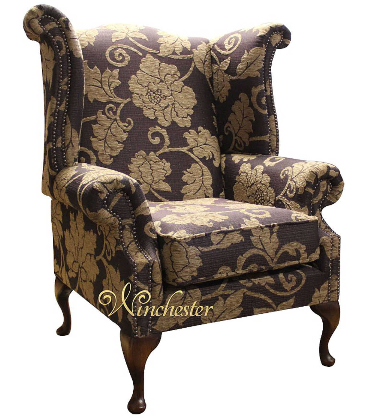 ... Chesterfield Queen Anne Wing Chair Tiffiny Aubergine Floral