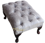 Chesterfield Velvet Queen Anne Footstool Perla Illusions Grey
