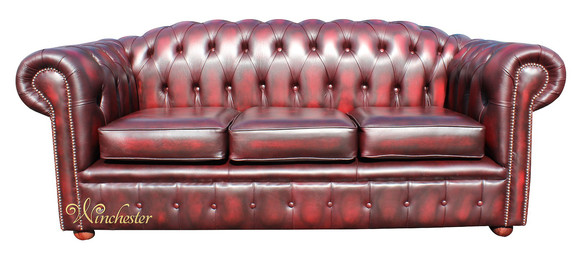 Chesterfield Royale 3 Seater Oxblood Leather Sofa Offer