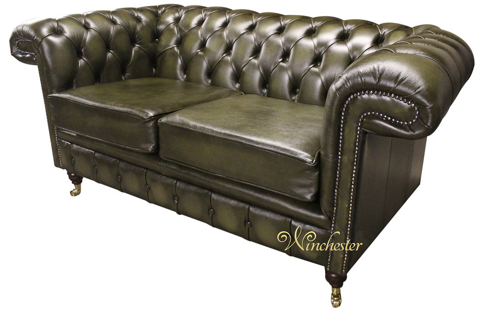 Chesterfield chartwell 2 seater antique green leather sofa for Leather sofa 7 seater