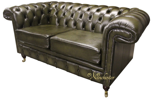 Chesterfield Sandringham 2 Seater Antique Green Leather Sofa Offer