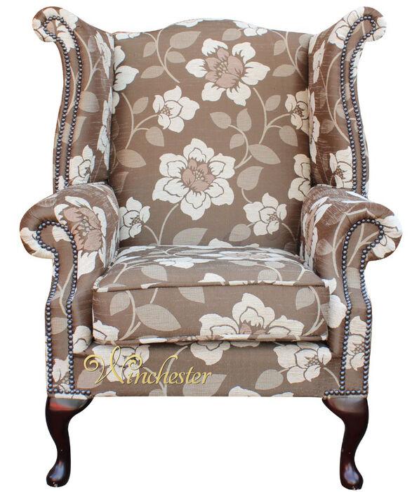 Chesterfield Sofa Saxon: Chesterfield Saxon Fabric Queen Anne High Back Wing Chair