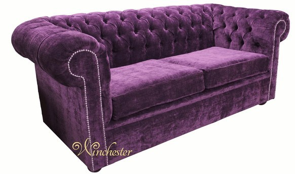Chesterfield 2 Seater Settee Velluto Amethyst Fabric Sofa Offer