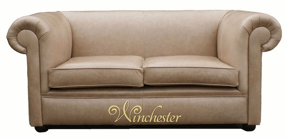 Chesterfield 1930 2 Seater Settee Old English Parchment Leather Sofa