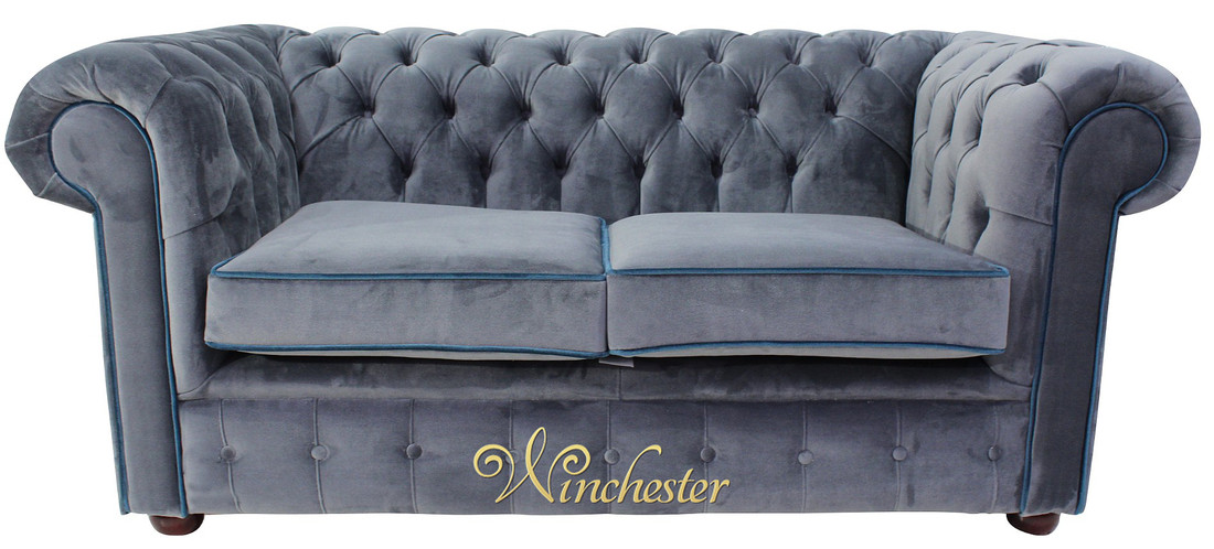 2 Seater Settee Malta Grey Blue Piping