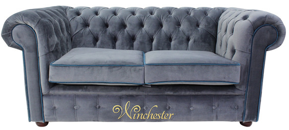 Chesterfield 2 Seater Settee Malta Grey Blue Piping Velvet Fabric Sofa Offer