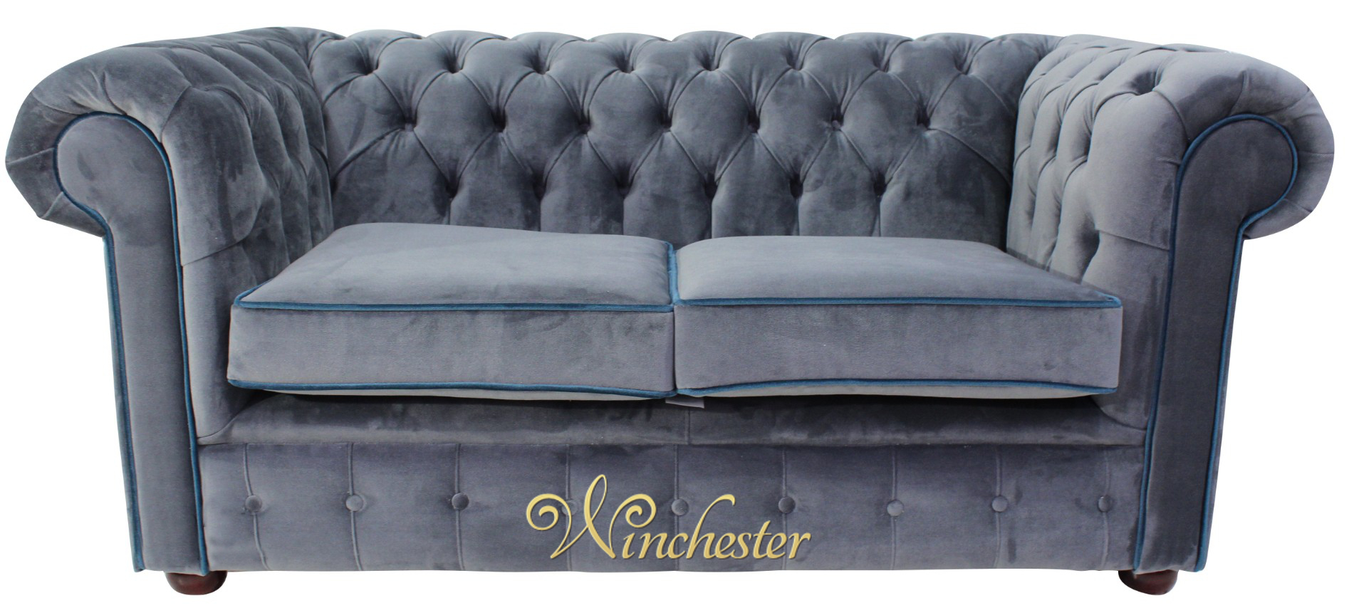 Chesterfield 2 seater settee malta grey blue piping velvet for Blue gray sofa