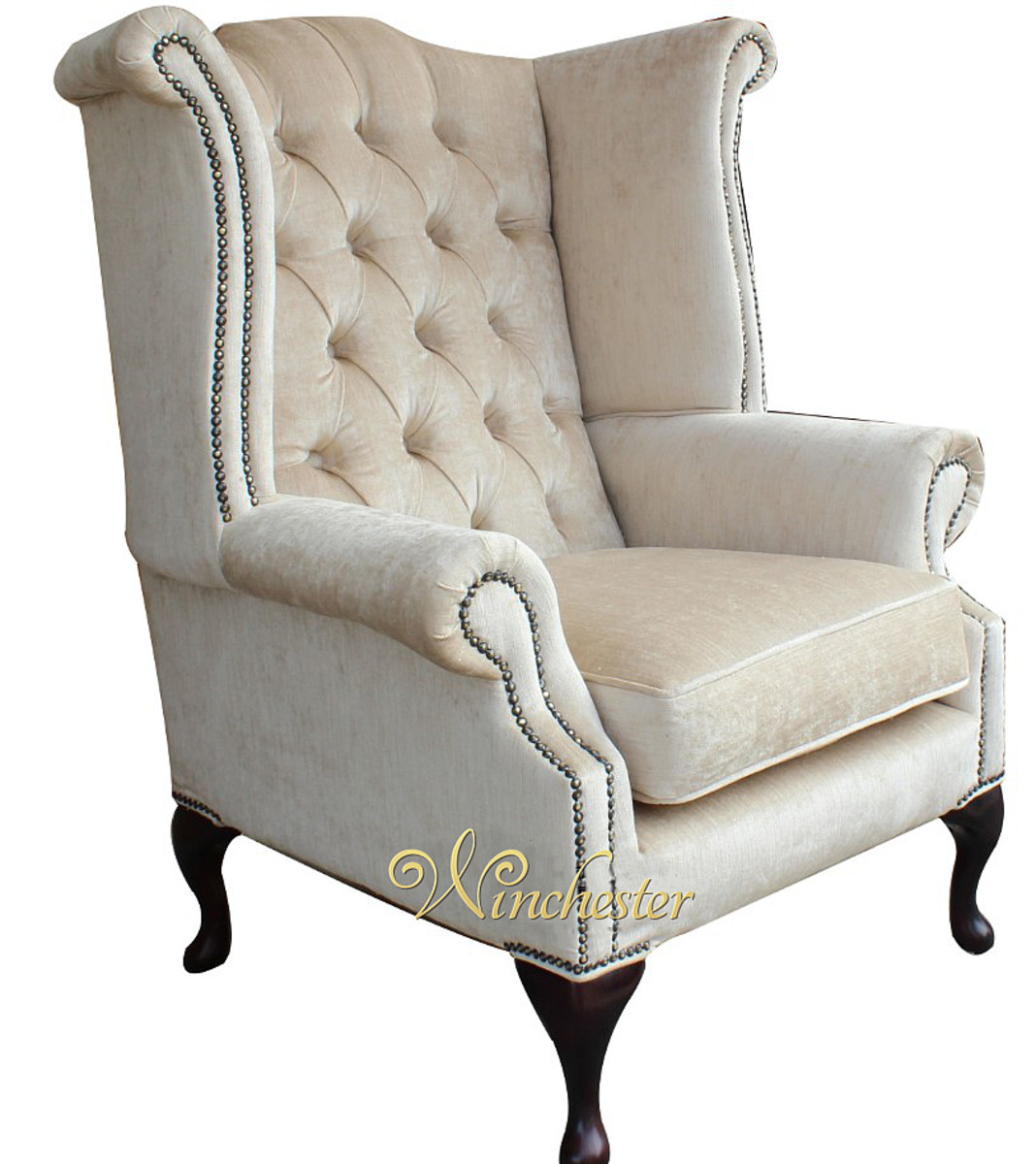 Chesterfield Velvet Queen Anne High Back Wing Chair Perla