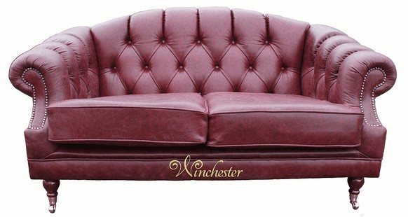 Victoria 2 Seater Chesterfield Leather Sofa Settee Old English Burgandy Leather