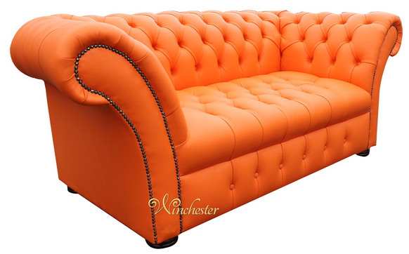 Chesterfield Balmoral 2 Seater Sofa Settee Buttoned Seat Mandarin Orange Leather