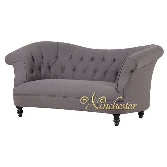 Grey Shaped Buttoned Chesterfield Fabric Sofa