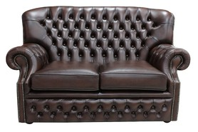 Monks Chesterfield 2 Seater Antique Brown Leather Sofa Offer