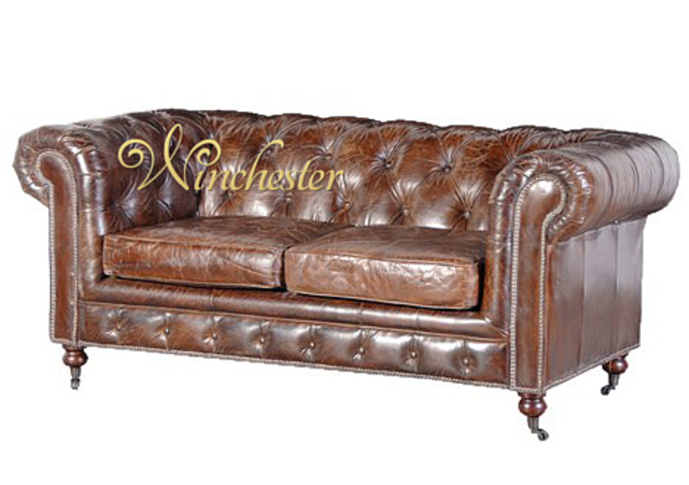 vintage leather 2 seat chesterfield sofa. Black Bedroom Furniture Sets. Home Design Ideas