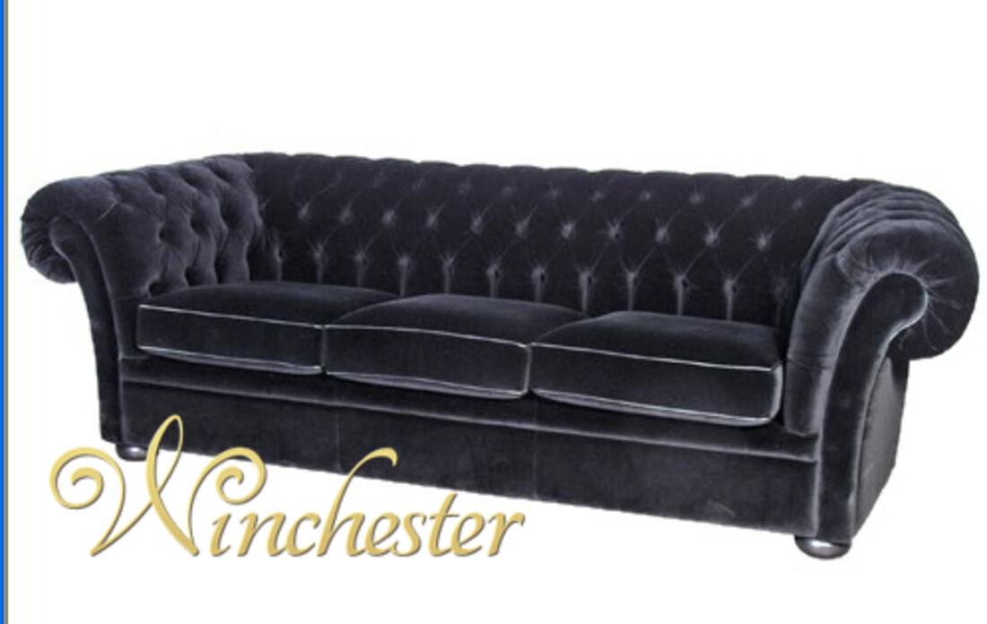 Black Velvet 3 Seater Balmoral Chesterfield