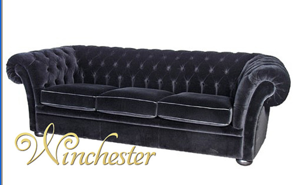 Black Velvet 3 Seater Balmoral Chesterfield