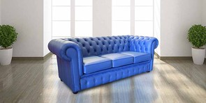 Chester Vintage Style Sofa Chesterfield Range 3 Seater Settee Deep Ultramarine Blue Leather Sofa Offer
