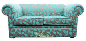 Chesterfield 1930's 2 Seater Sofa Settee Orchard Leaf Turquoise Fabric