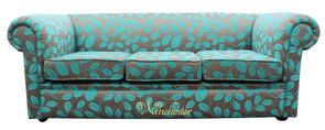 Chesterfield 1930's 3 Seater Sofa Settee Orchard Leaf Turquoise Fabric