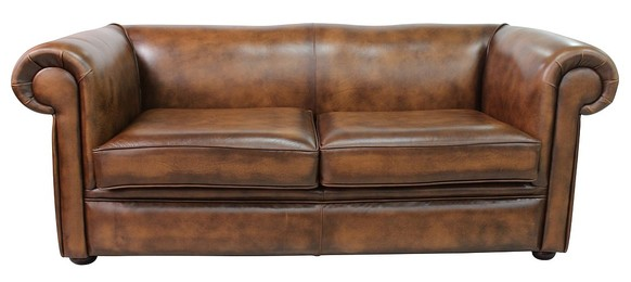 Chesterfield 1930's 3 Seater Settee Antique Tan Leather Sofa