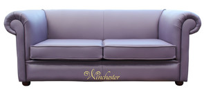 Chesterfield 1930's 2.5 Seater Settee Amethyst Purple Leather Sofa