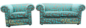 Chesterfield 1930's 2 Seater + Club Chair Sofa Settee Orchard Leaf Turquoise Fabric