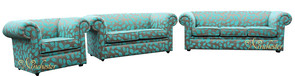 Chesterfield 1930's 3 Seater + 2 Seater + Armchair Sofa Suite Orchard Leaf Turquoise Fabric