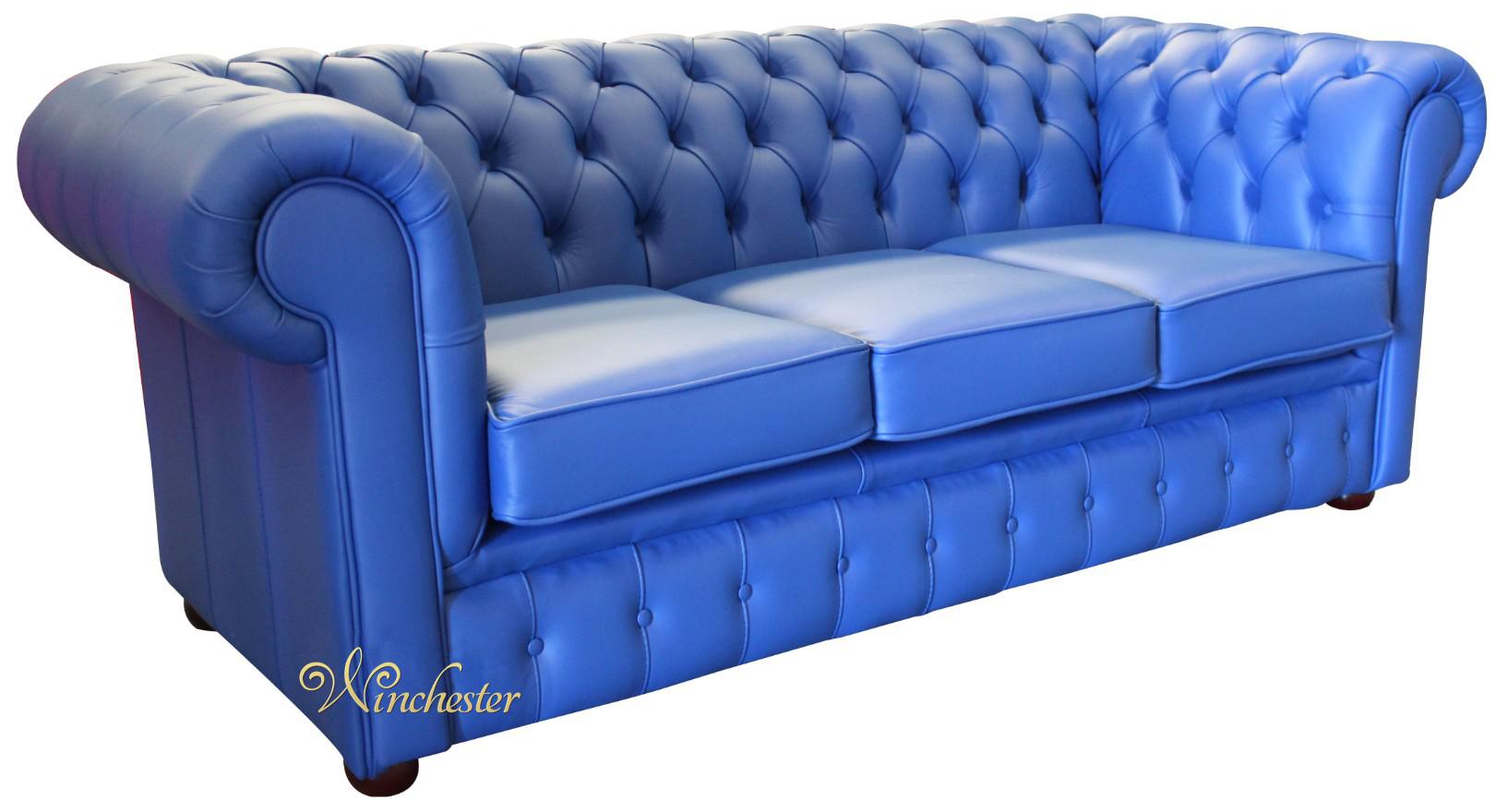 chesterfield thomas 3 seater settee deep ultramarine blue