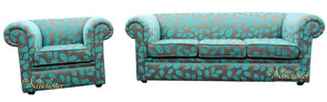 Chesterfield 1930's 3 Seater + Club Chair Sofa Settee Orchard Leaf Turquoise Fabric
